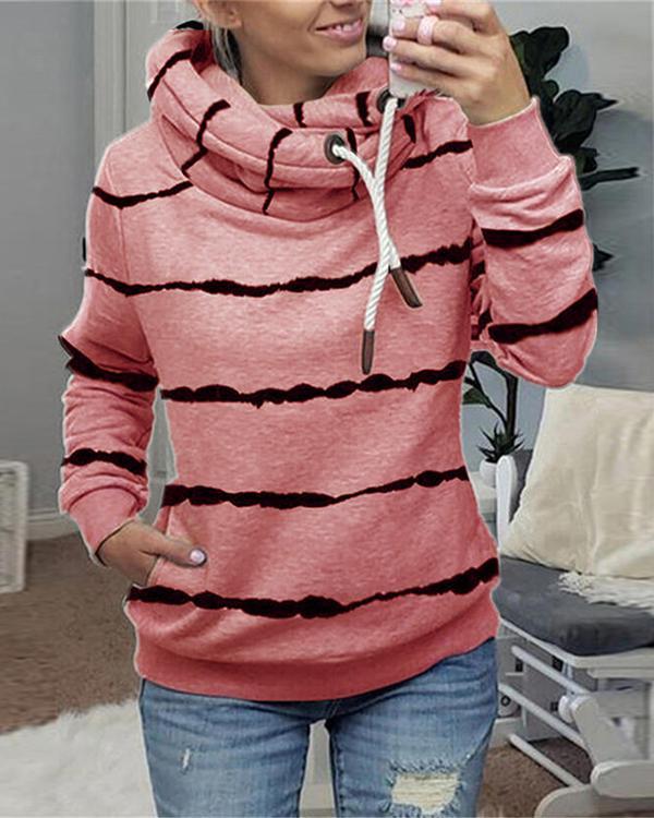 Shift Hoodie Casual Stripe Fleece Shirts&Tops
