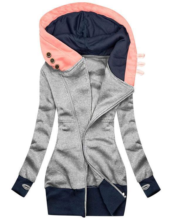 Women Casual  Retro  Hooded Coat