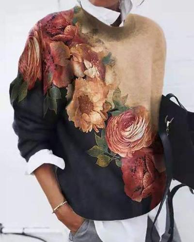 Women Flower Printed  Color Block Long Sleeve Tops