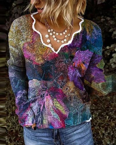 Women Autumn Cats/Leaves Print V Neck Shirts&Tops
