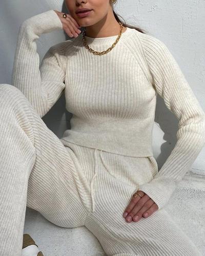 Casual Cotton Slim Fit Loungewear Knit Sweater&Pants Set