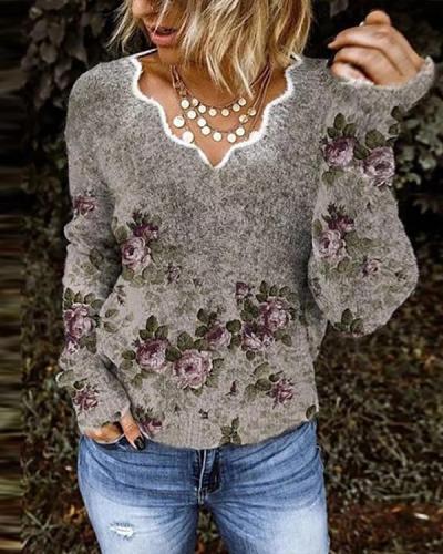 Women Autumn Floral Print V Neck Shirts&Tops
