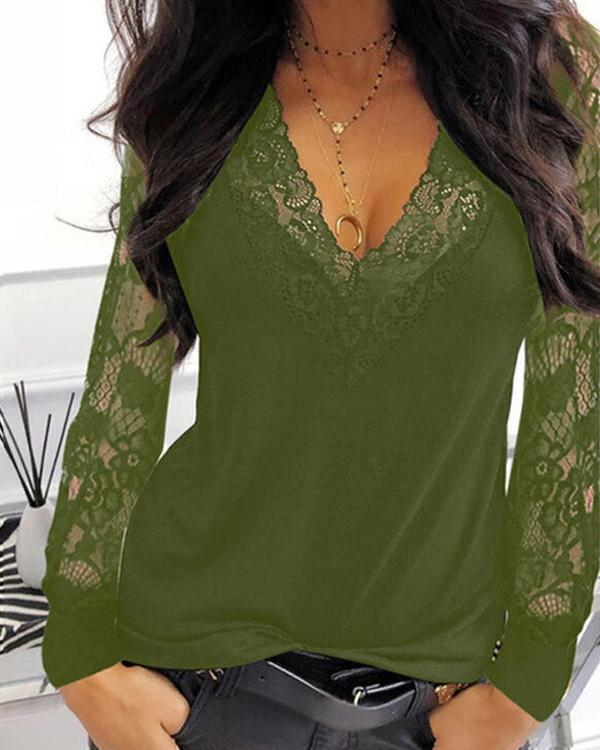 Casual Lace Patchwork V Neck Loose Fit Blouses
