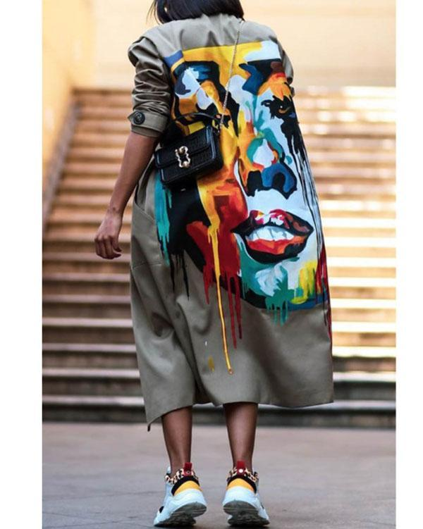 Women Autumn Winter Print Colorful Overcoat