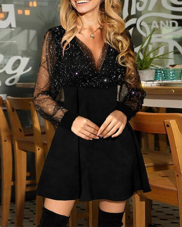 Sequins Long Sleeves A-line Above Knee Dresses