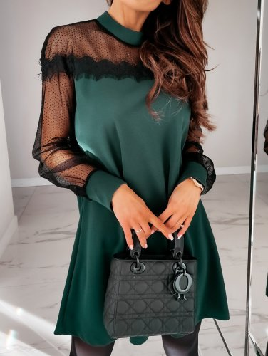Solid Color Long Sleeves Above Knee Dress