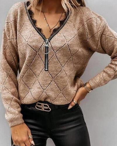 Women Zipper V neck Geometric Knit Shirts&Tops