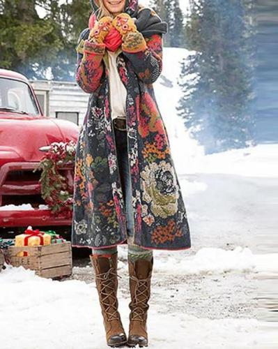 Long Sleeve Floral-Print Outerwear