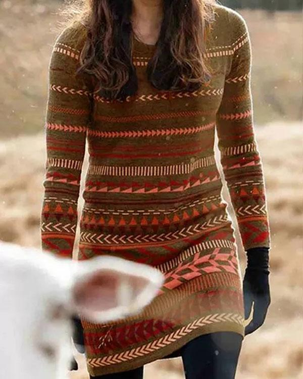 Casual Geometric Print Round Neckline Bodycon Dress