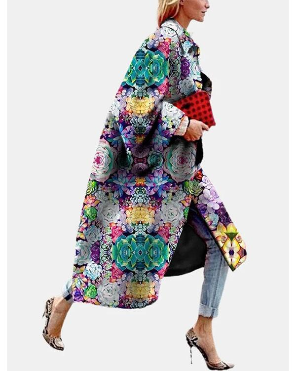 Vintage Flower Printed Long Sleeve Turn-down Collar Coat For Women