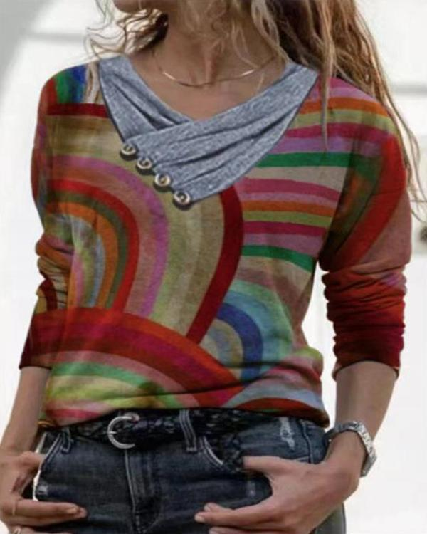 Colorful Printed Casual V-Neckline Long Sleeve Blouses