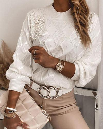 Solid Beaded Crew Neck Elegant Sweaters