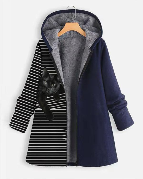 Women Casual Stripe&Animal Print Retro Hooded Coat
