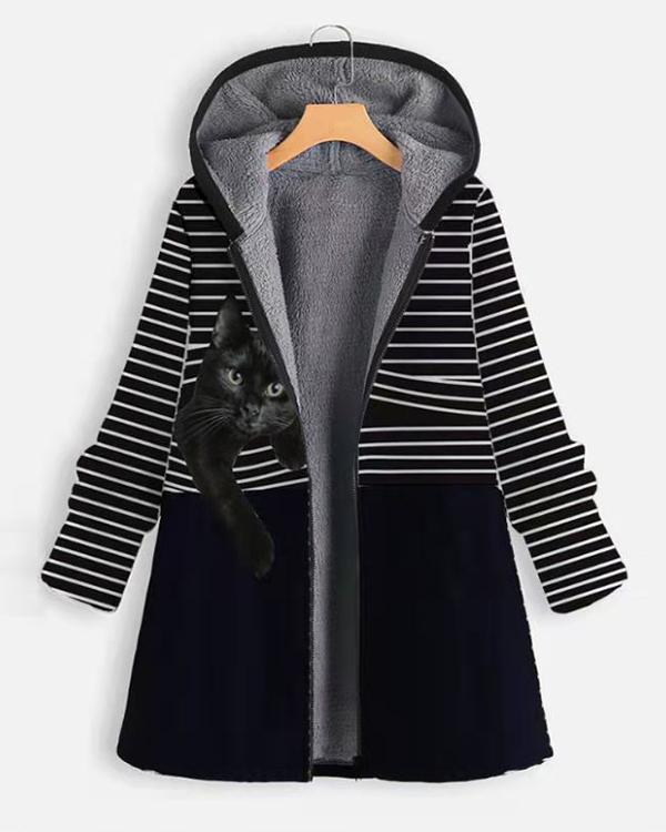 Women Casual Stripe&Animal Print Retro Hooded Coat
