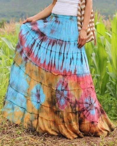 Vintage Tie Dye Solid Casual Drawstring Skirt