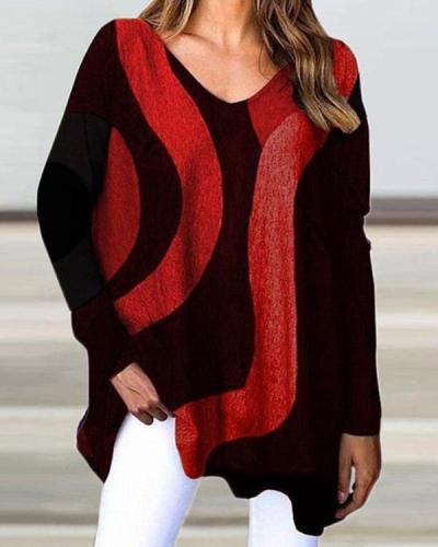 Long Sleeve Geometric Designs Loose Casual Women's T-shirt