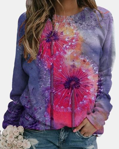 Abstract Long Sleeve Cotton-Blend Crew Neck Tops