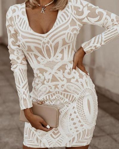 Floral Print Long Sleeves V Neck Bodycon Elegant Dresses