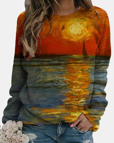 Abstract Long Sleeve Printed Cotton-blend Crew Neck Top