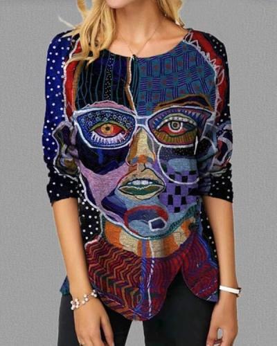 Women Art Print Crew Neck Long Sleeve Shirts&Tops