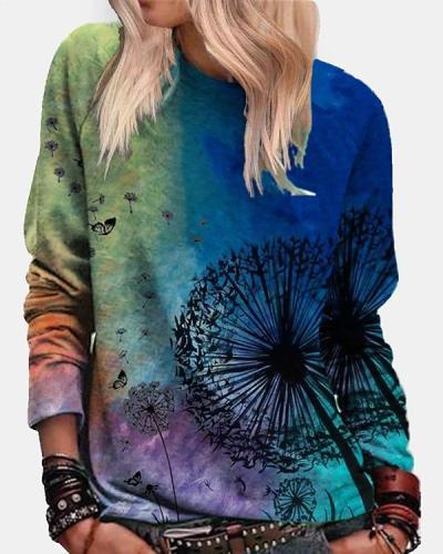 Women Vintage Dandelion Long Sleeve Shirts&Tops