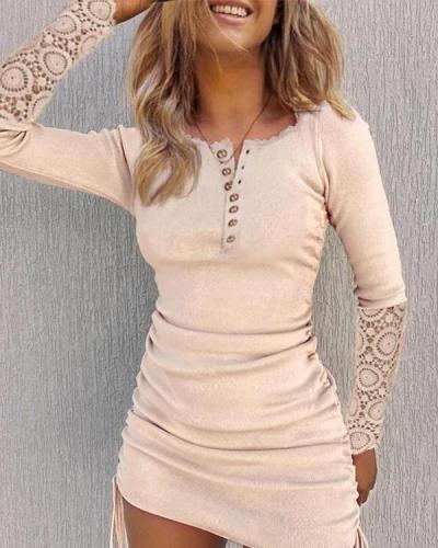 Long Sleeve Sexy Lace Mini Dress