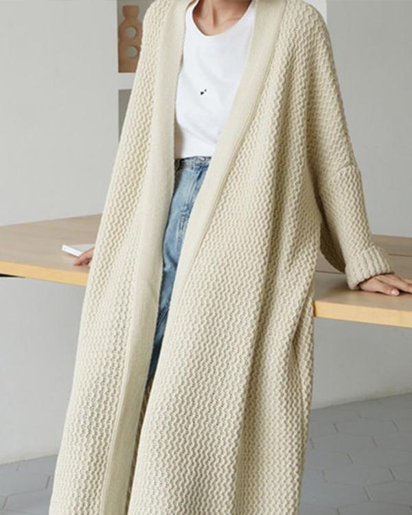 Vintage Plain Cable Long Sleeve Free Size Casual Sweater Cardigan