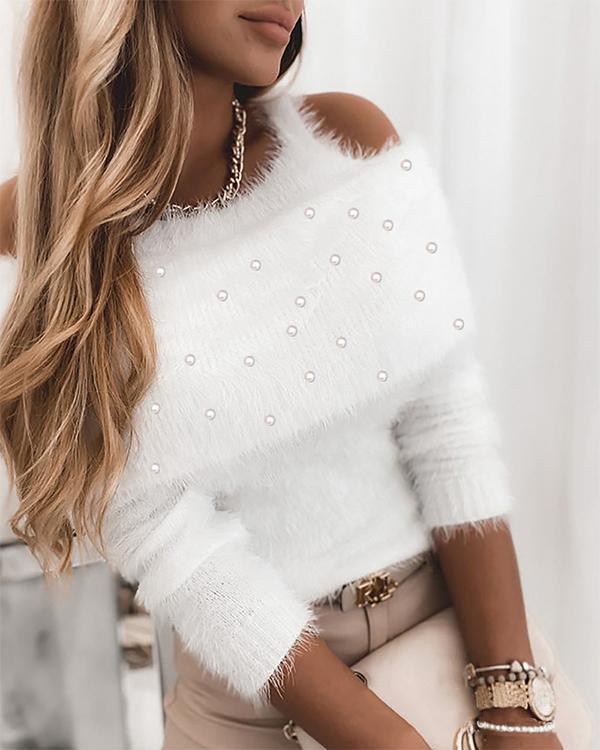 Solid Cold Shoulder Beaded Elegant Sweaters