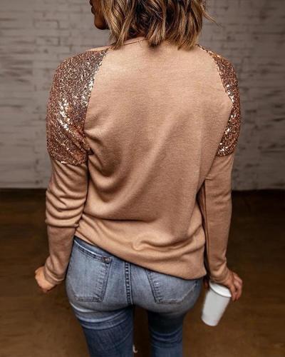 Sequins Patchwork Round Collar T-Shirt