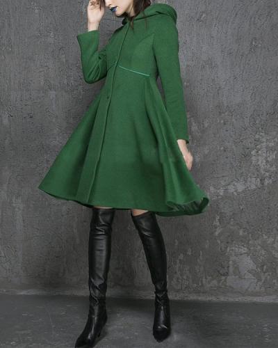 Vintage Plain Color A-line Hooded Trench Coat