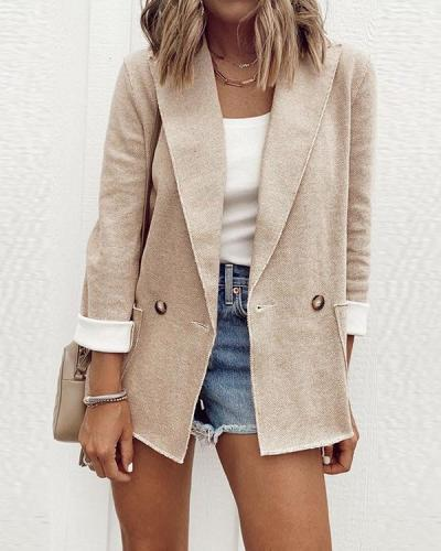 Lapel Solid Color Long Sleeve Coat