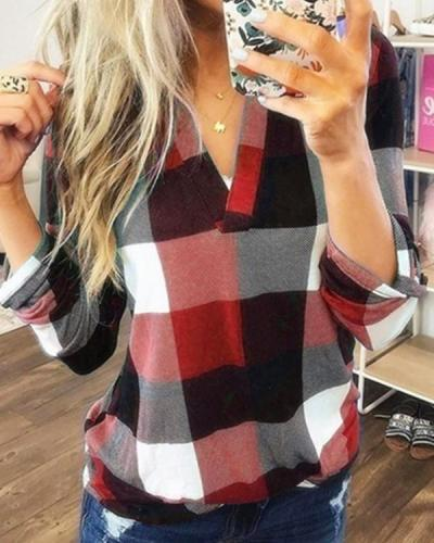 Plaid V-neck Long Sleeve T-shirt
