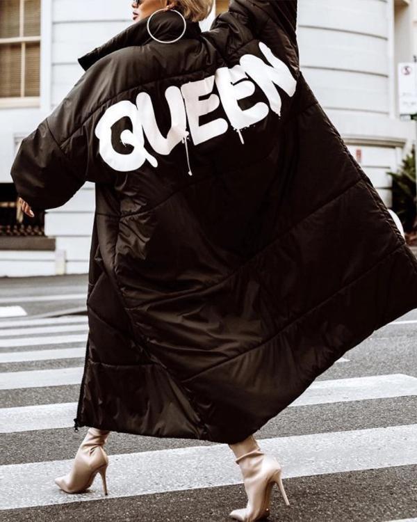 Women's Fashion QUEEN Print Long Down Jacket