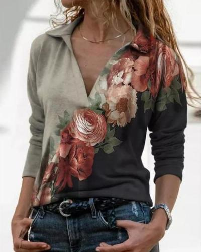 Flower Print Lapel Long Sleeves Casual Blouses