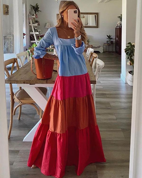 Casual Color Block Shirt Boat Neckline Shift Dress