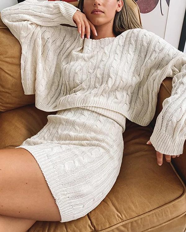 Cozy Cable Knitted Sweater&Skirt Suit