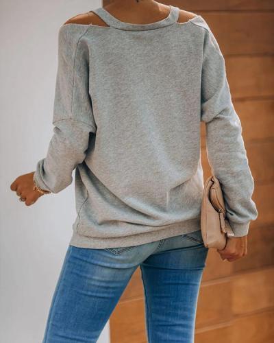 Casual Cotton-Blend Plain Color Cold Shoulder Shirts & Tops