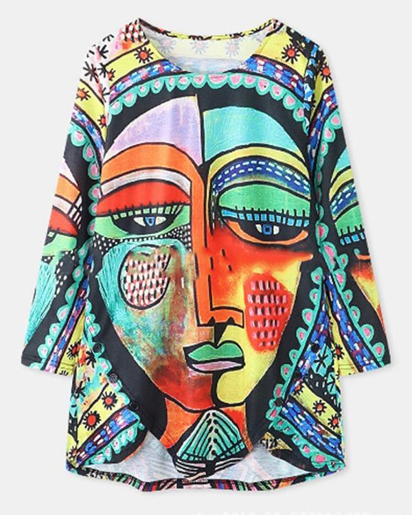 Casual Round Neck Loose Fit Graffiti Blouses