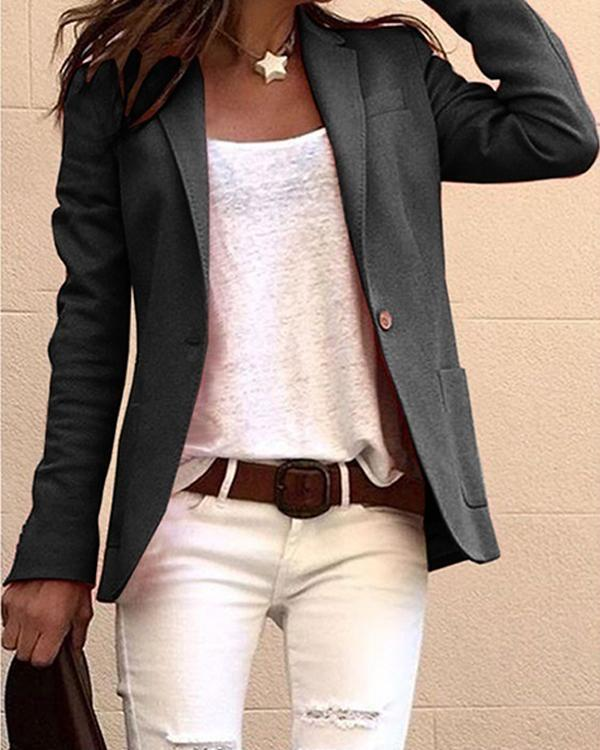 Women's Notch lapel collar Blazer Solid Color Outerwear