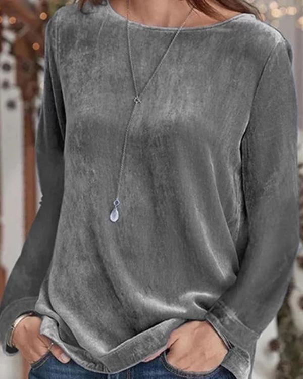 Plain Long Sleeve Casual Crew Neck Sweatershirts