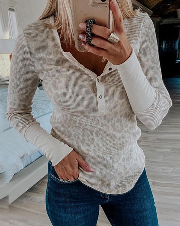 Trendy Waffle Texture Button V Neck Leopard Shirts&Tops