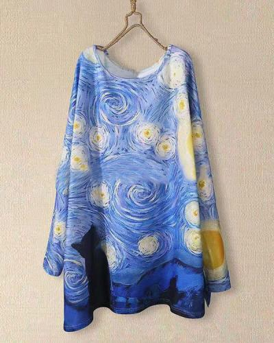 Casual Round Neck Asymmetric Loose Fit Graffiti Blouses
