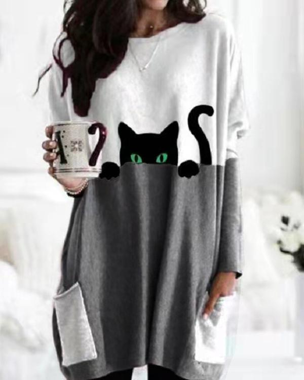 Casual Cat Print Shift Blouse With Pockets