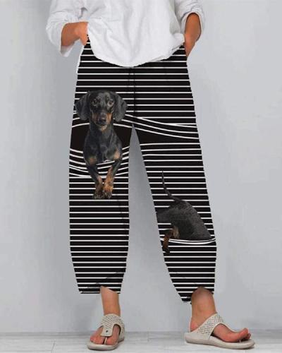Dog And Cat Print Striped Patchwork Elastic Waist Plus Size Pants