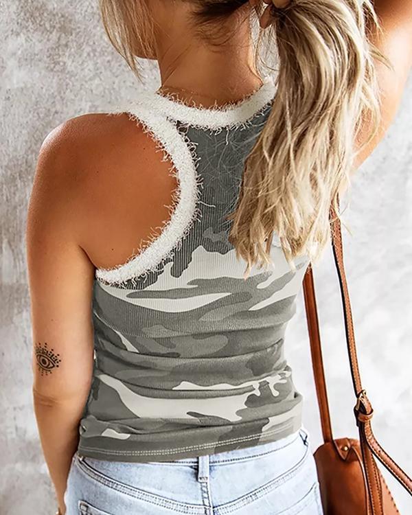 Camouflage Fluffy Neckline Trendy Vest