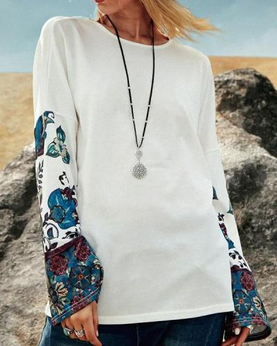 Print Crew Neck Shift Women Long Sleeve T-shirt