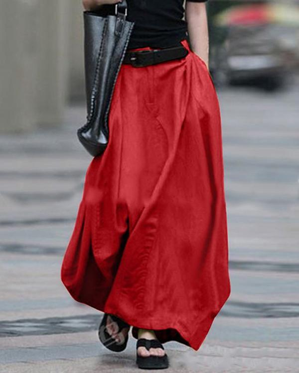 Casual High Waist Solid Color Skirt