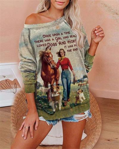 Letter Printed Casual Long Sleeve Cozy Sweatshirt