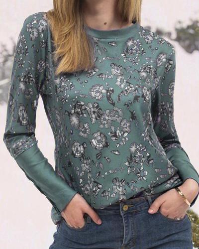 Vintage Floral Print Paneled Crew Neck Long Sleeve T-shirt