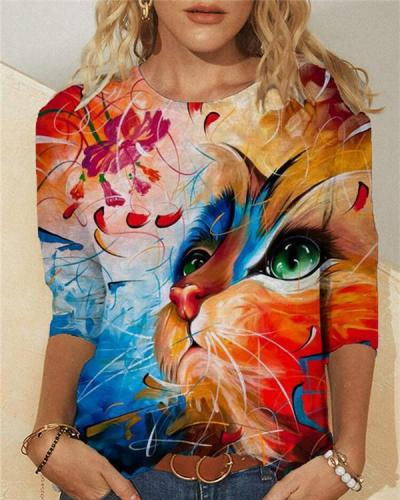 Cats Print Long Sleeve Casual Crew Neck T-Shirts & Tops